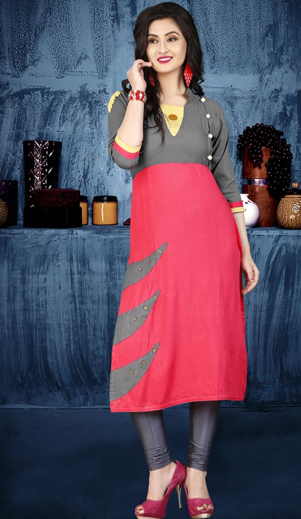 Pink Color Rayon Party Wear Style Readymade Kurti | FHKF735469974