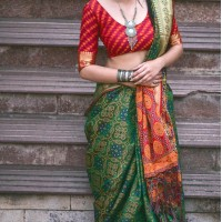 Elegant Green Color Silk Party Wear Saree with Blouse | KF810877531