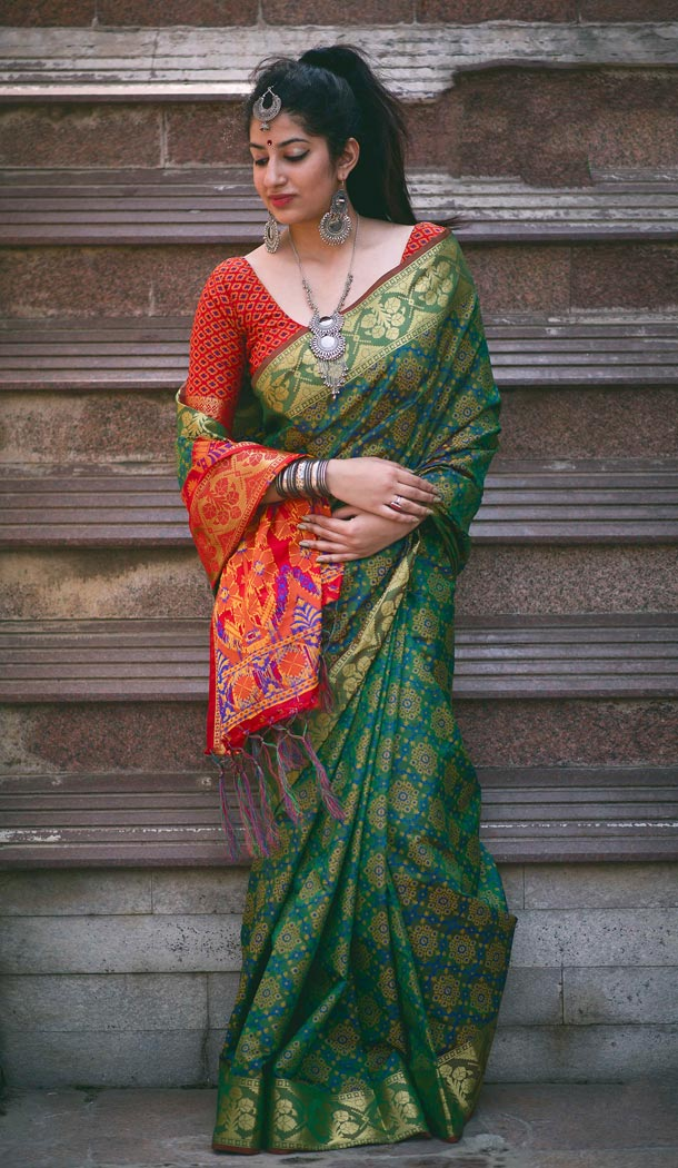 Green Color Silk Party Wear Saree with Blouse | KF810877533