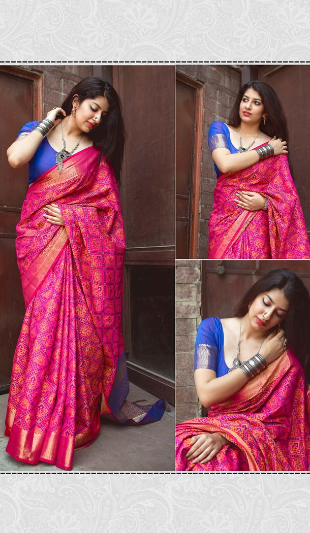 Desirable Rani Color Silk Party Wear Saree with Blouse | KF810877537