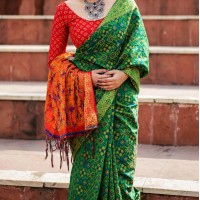 Desirable Green Color Silk Party Wear Saree with Blouse | KF810877538