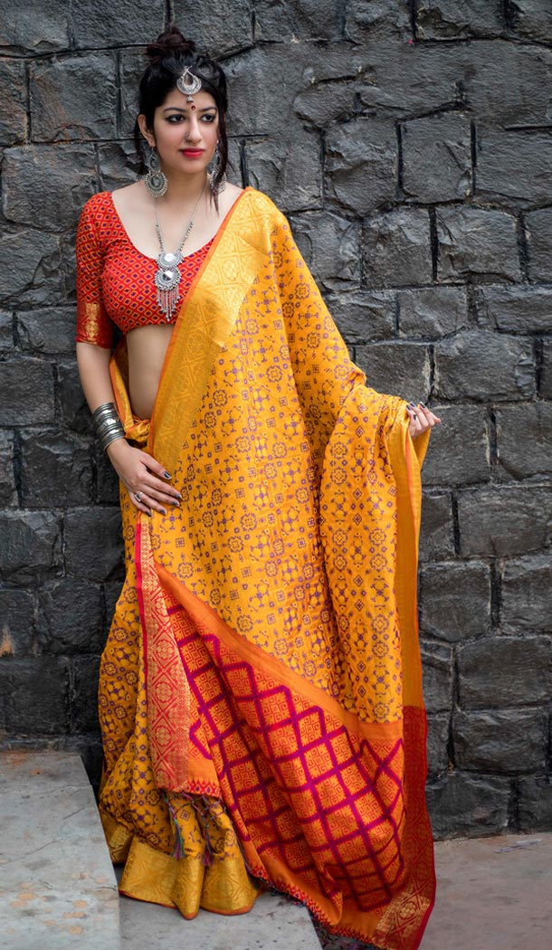 Yellow Color Silk Party Wear Saree with Blouse | KF810877539