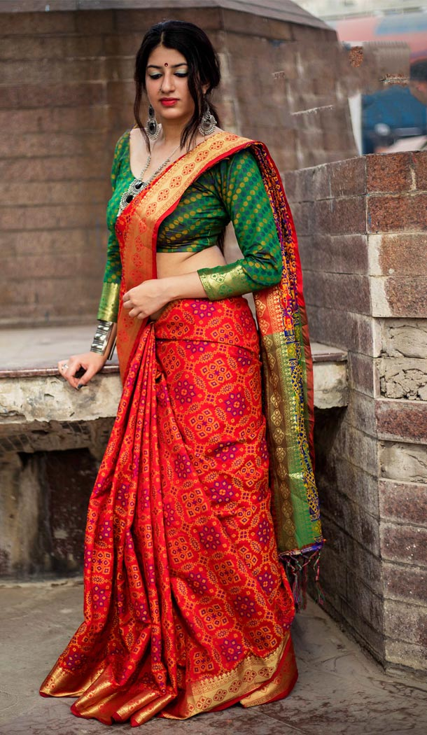 Red Color Silk Party Wear Saree with Blouse | KF810877540