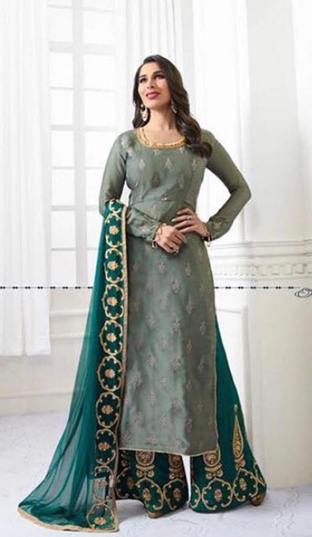 Grey Color Satin Party Wear Style Plaza Salwar Suit | KF810077474