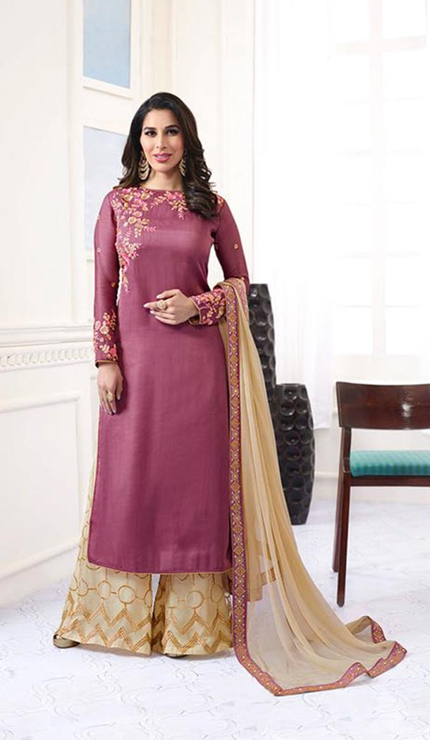 Pink Color Satin Party Wear Style Plaza Salwar Suit | KF810077475