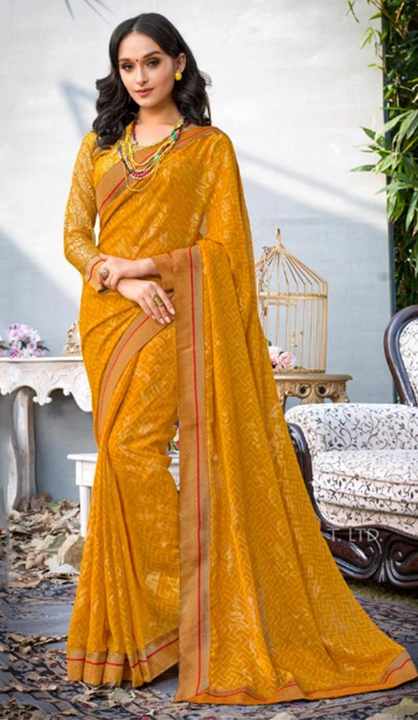 Summer Wear Yellow Color Georgette Casual Style Saree | KF808877374