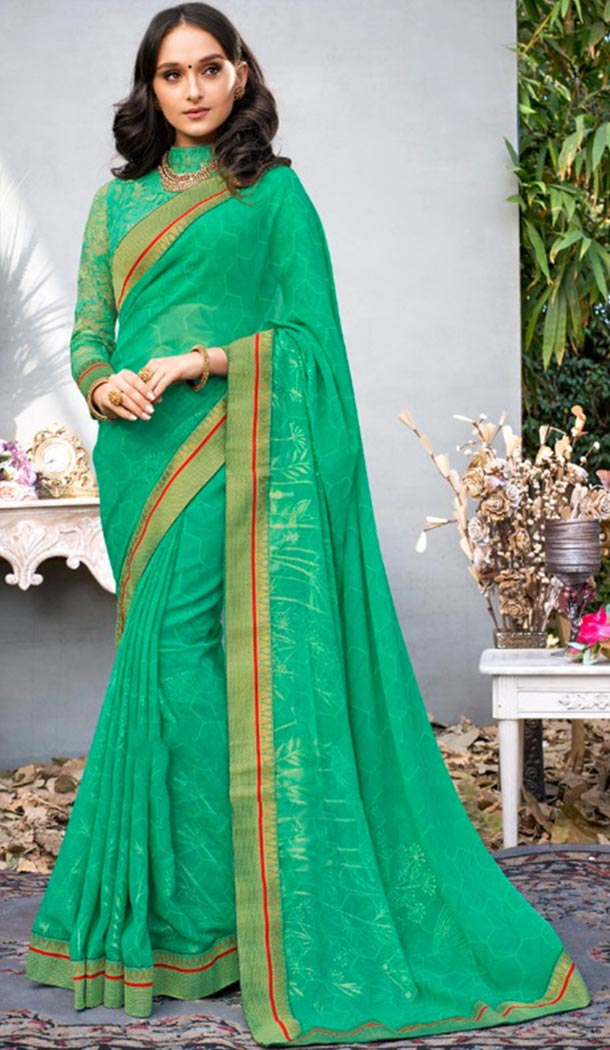 Summer Wear Green Color Georgette Casual Style Saree | KF808877376