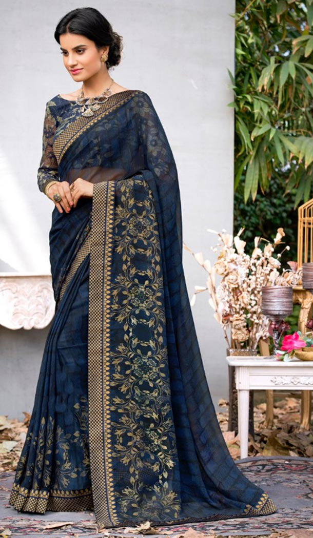 Summer Wear Neavy Blue Color Georgette Casual Style Saree | KF808877377