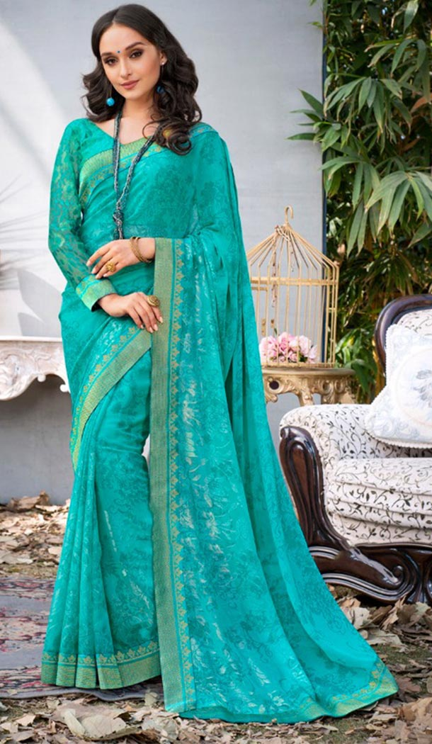 Summer Wear Sky Blue Color Georgette Casual Style Saree | KF808877380