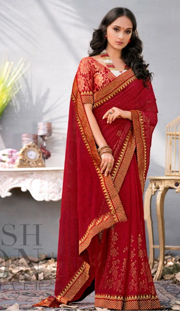 Summer Wear Red Color Georgette Casual Style Saree | KF808877382