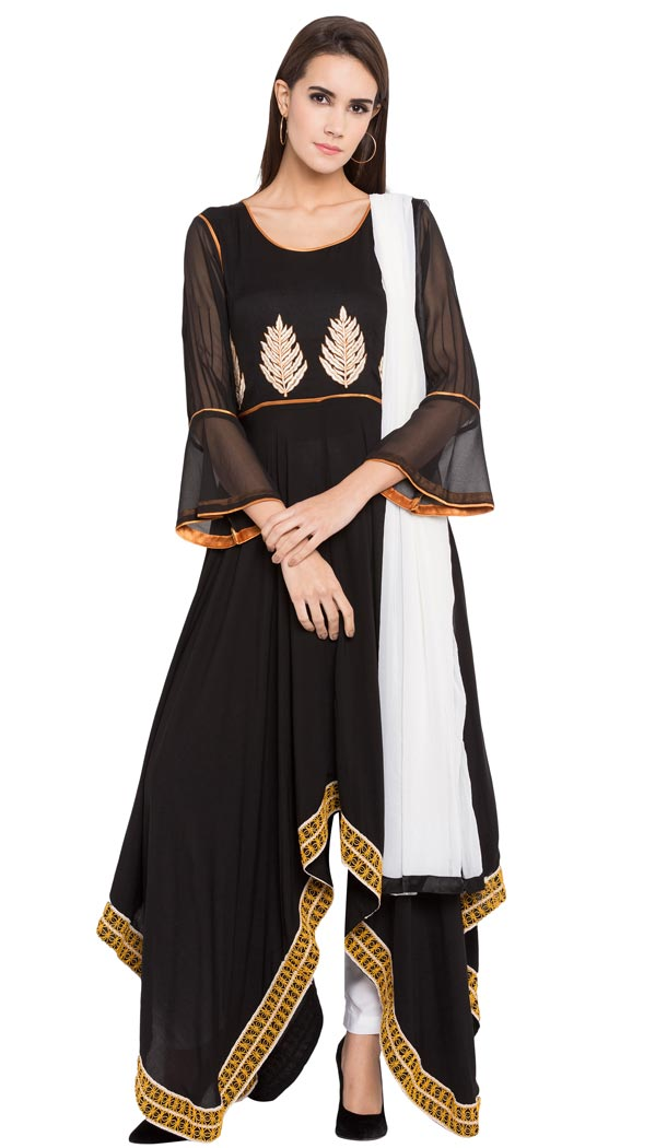 Women Black Color Cotton Designer Wear Ready-made Suits | FHRT727332245