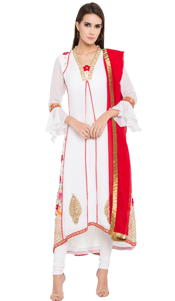 White Color Faux Georgette Designer Wear Ready-made Suits   FHRT727332249