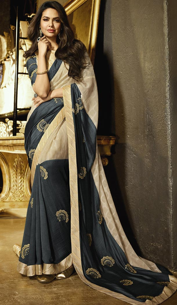 Multi Color Embroidery Party Wear Chiffon Saree | FHRT329438812