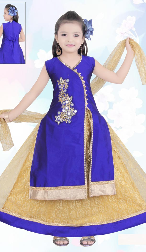 Blue Color Net Embroidery Readymade Kids Girls Suit | 332139285