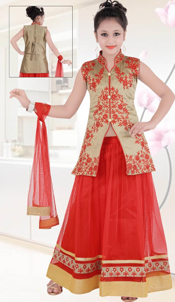 Red Color Net Embroidery Readymade Kids Girls Suit | 332139286