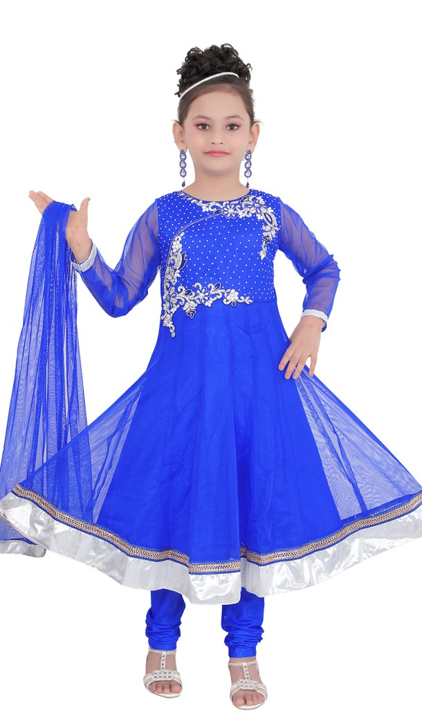 Interesting Blue Color Net Readymade Kids Girls Churidar Suit | 332139290