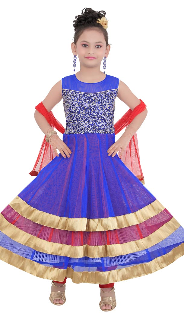 Multi Color Net Readymade Kids Girls Churidar Suit | 332139293
