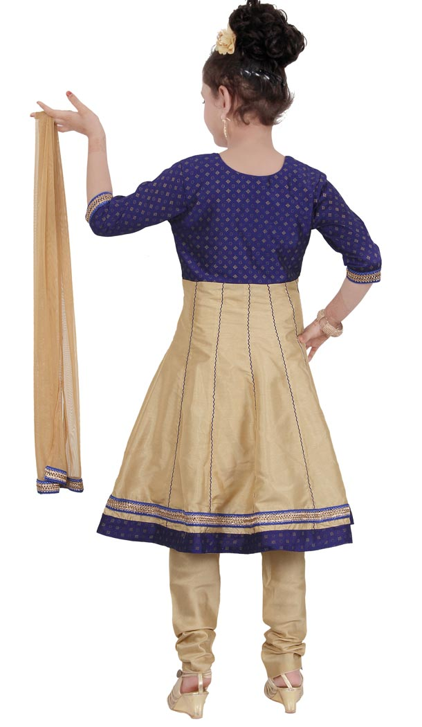 Blue Cream Color Net Readymade Kids Girls Churidar Suit | 332139297