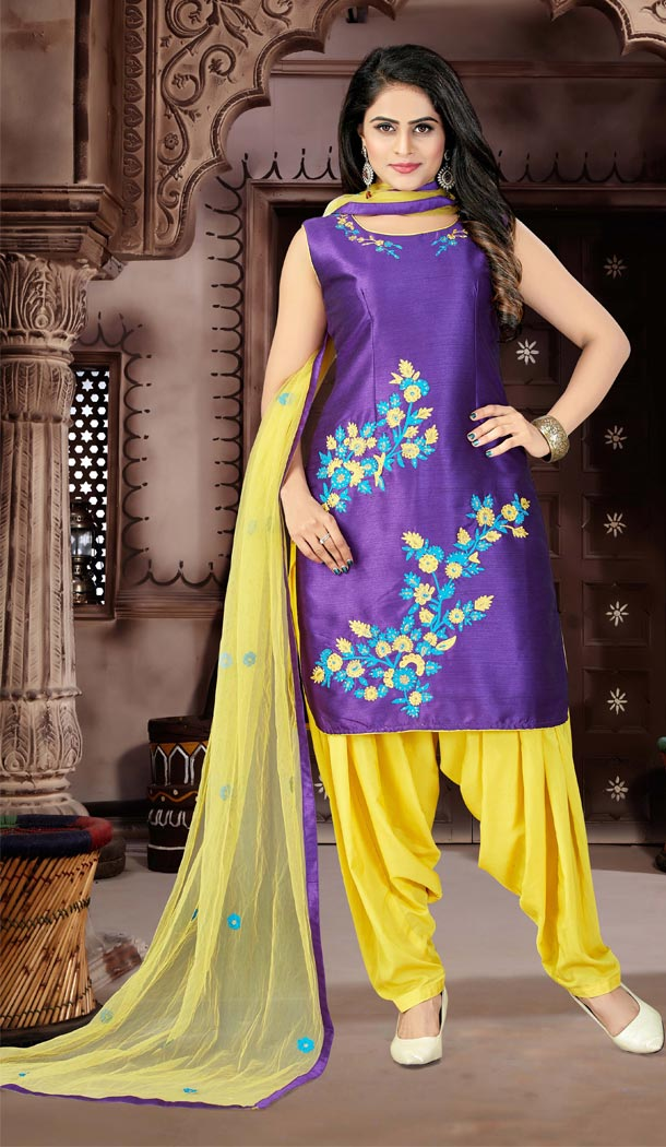 Purple Color Satin Punjabi Patiyala Suit | 334039528