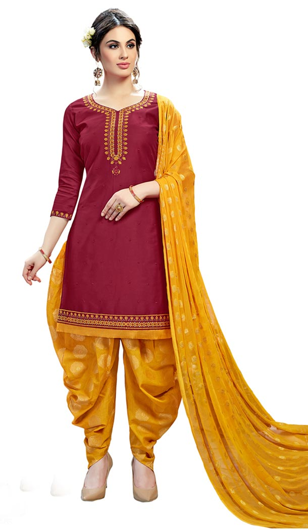 Maroon Color Cotton Day Wear Punjabi Patiyala Salwar Suit | 334239565