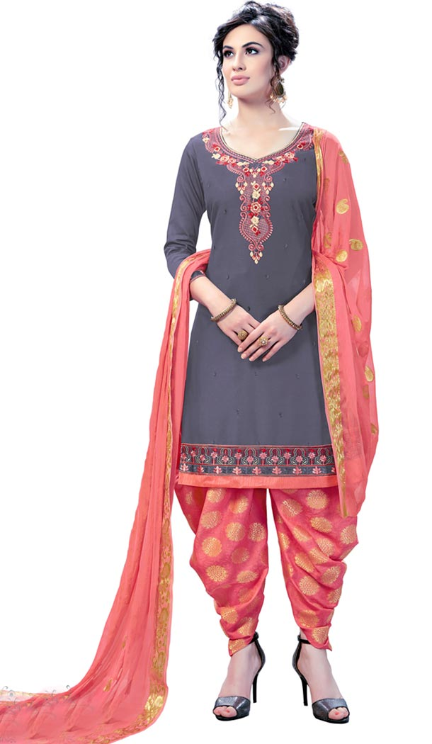 Grey Color Cotton Day Wear Punjabi Patiyala Salwar Suit | 334239566