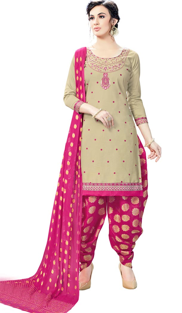 Beige Color Cotton Day Wear Punjabi Patiyala Salwar Suit | 334239568