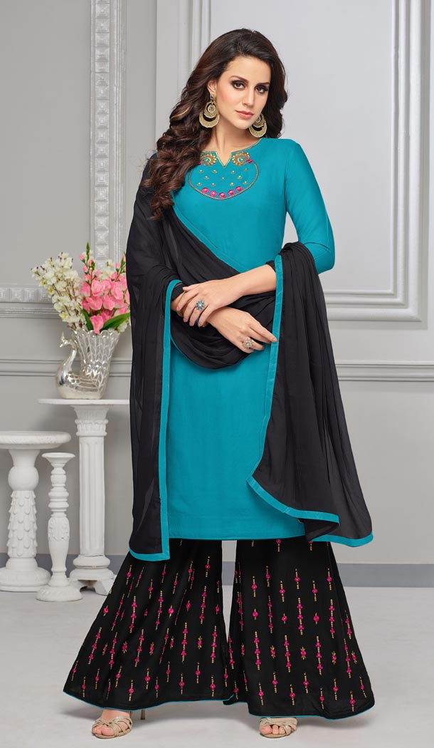 Alluring Sky Blue Color Rayon Cotton Palazzo Salwar Suits | 335539692