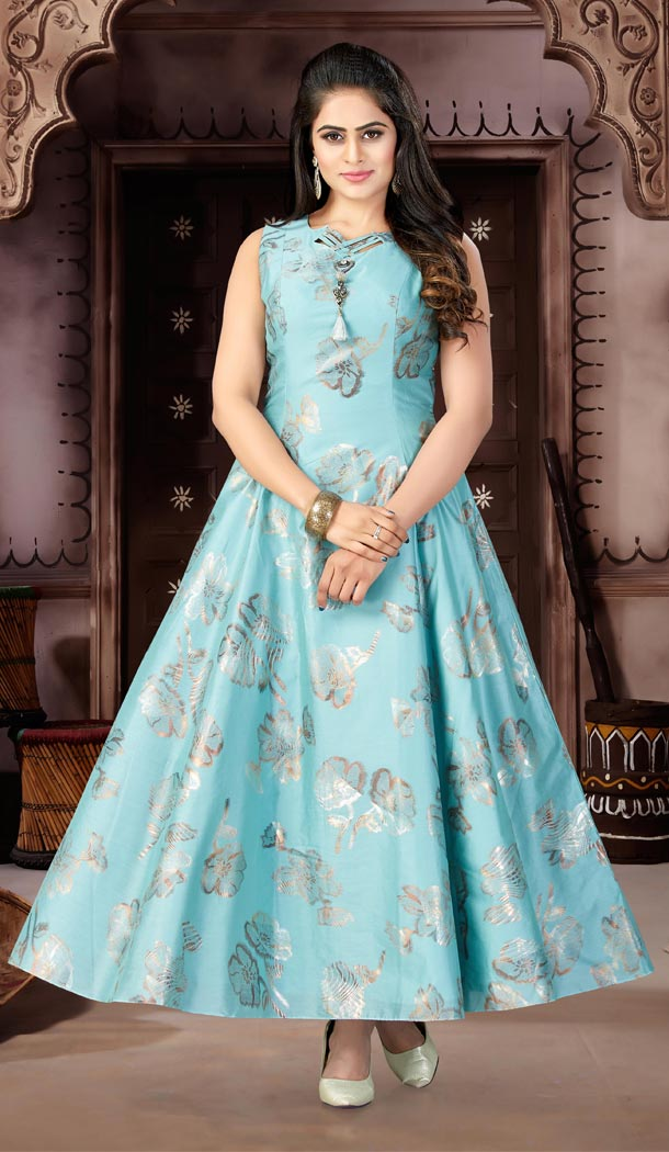 Sky Blue Color Chanderi Foil Party Wear Readymade Gowns   333939494