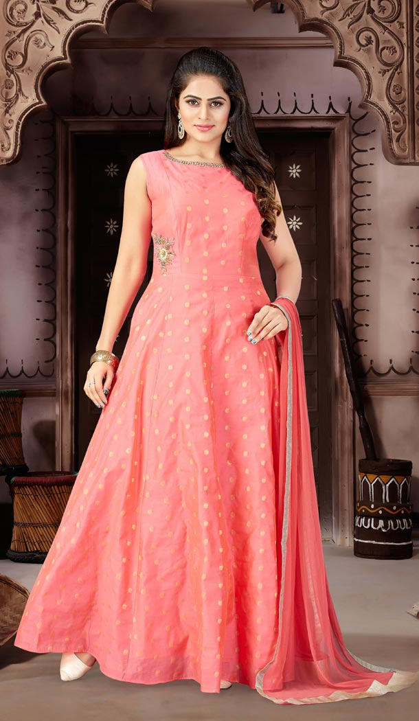 Rani Color Chanderi Party Wear Readymade Gowns | 333939506