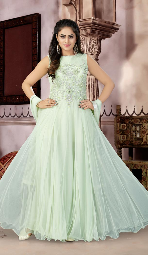 C Green Color Net Party Wear Readymade Gowns | 333939509