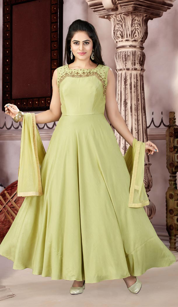 Mehndi Color Maslin Party Wear Readymade Gowns | 333939516