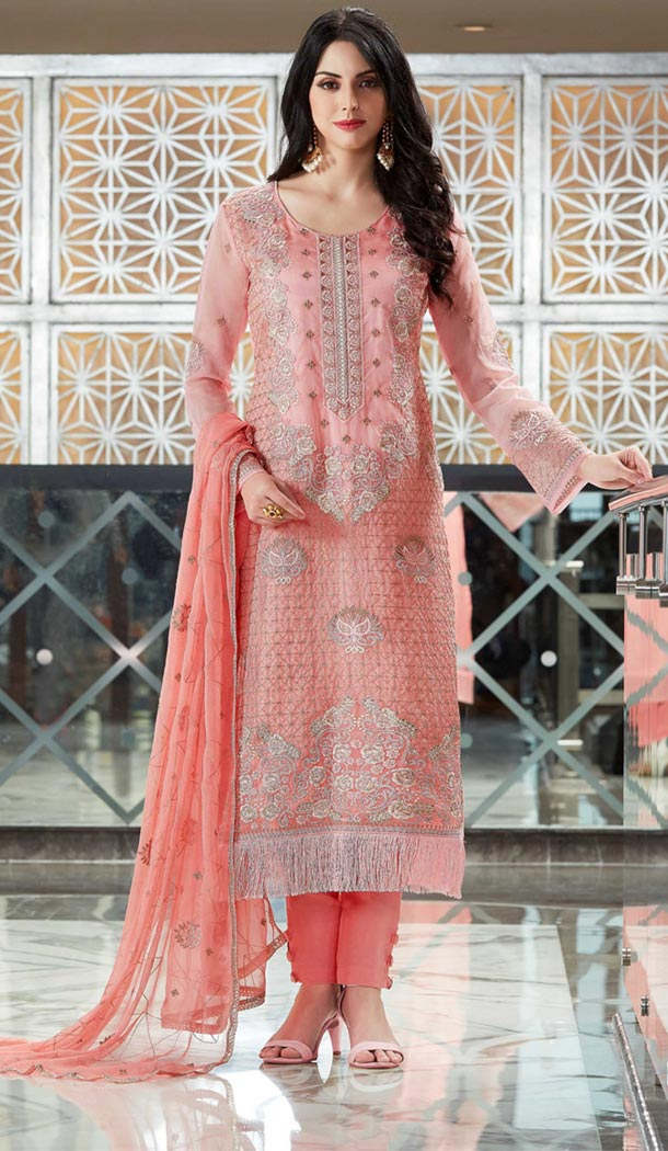 Pakistani Style Pink Organza Party Wear Suit | 335839716