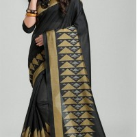 Black Color Bhagapuri Silk Casual Wear Saree Blouse | 336039738