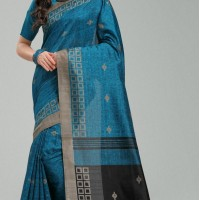 Blue Color Bhagapuri Silk Casual Wear Saree Blouse | 336039739