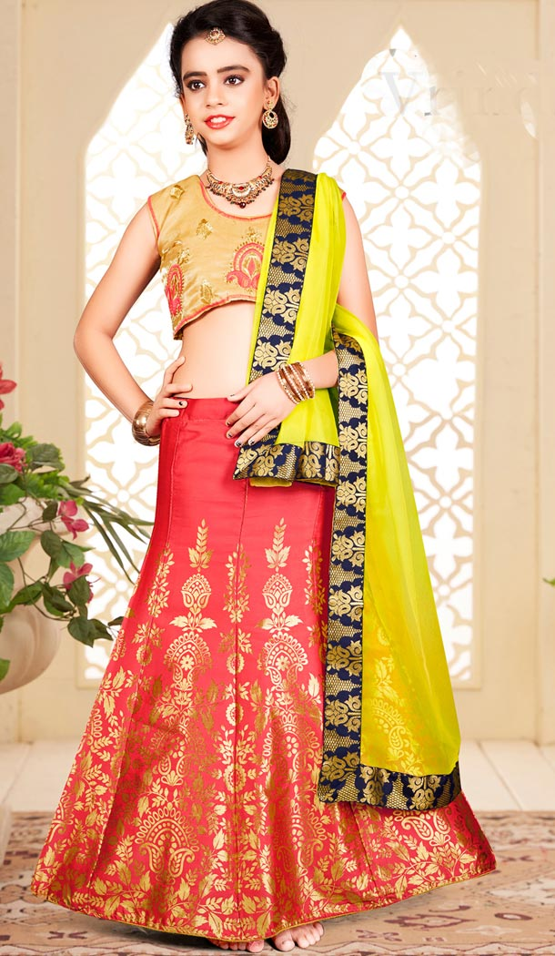 A Line Orange Color Banarasi Designer Kids Girl Lehenga | 338840132