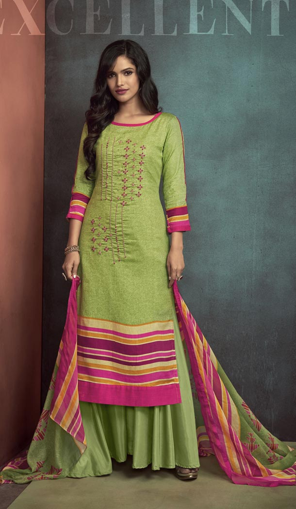 Heavy Cotton Green Color Embroidered Palazzo Suit | 344240692