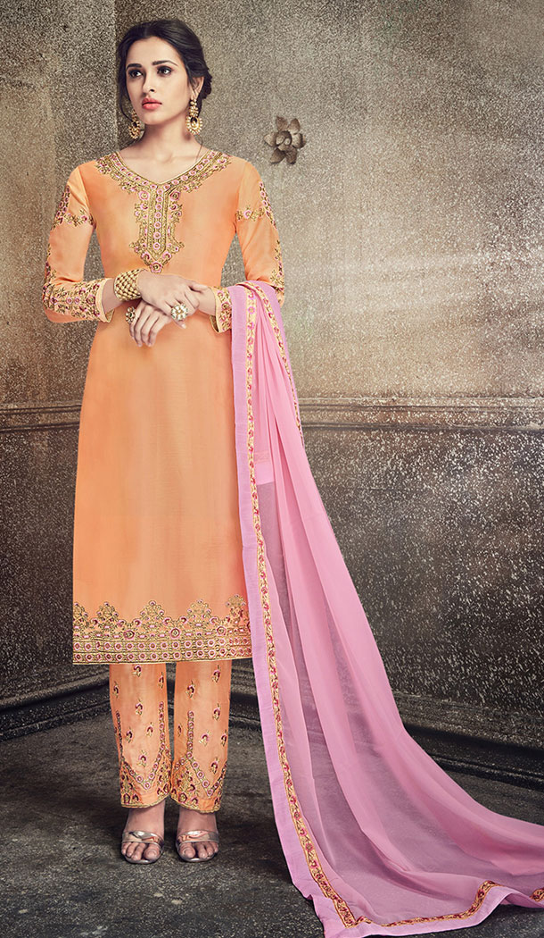 Light Orange Color Georgette Silk Party Wer Straight Suit | 344340704