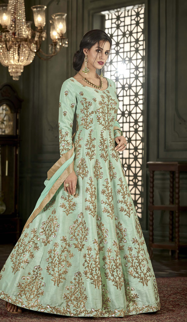 Abaya Style Light Green Color MUlbary Silk Long Anarkali Suit | 344840752