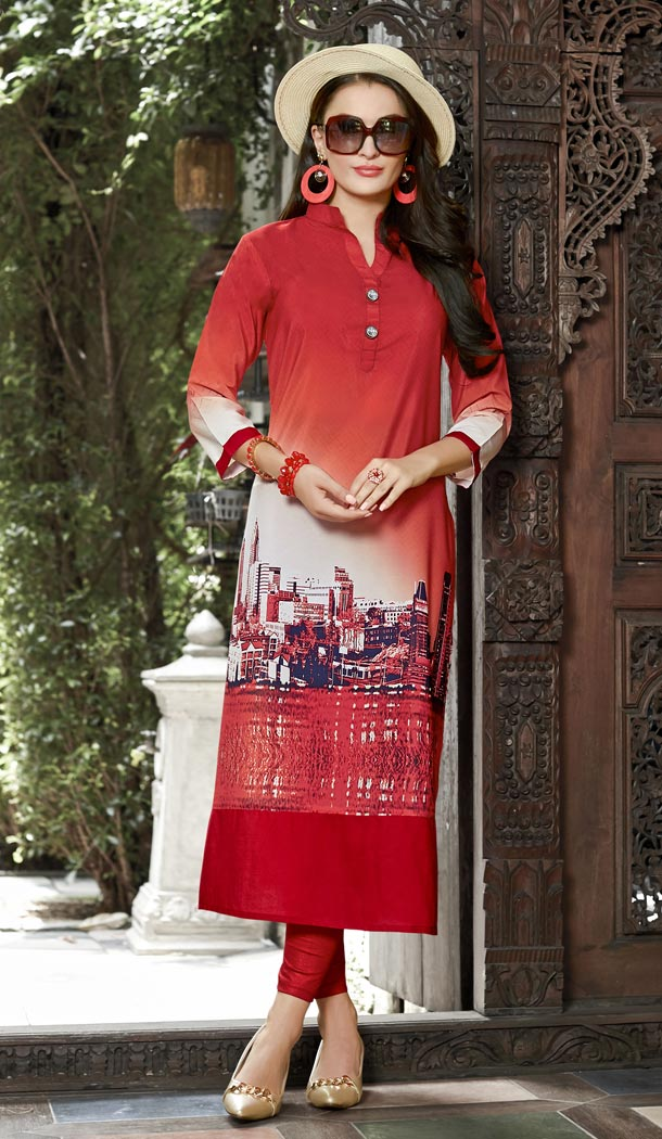 Ethnic Red,White Linen Exclusive Readymade Kurti | 333139428