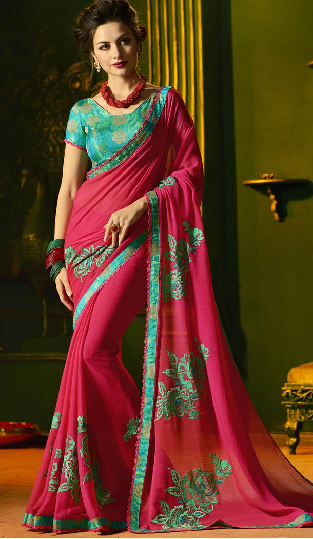 Chic Pink Color Chiffon Party Wear Saree Blouse | 335439683