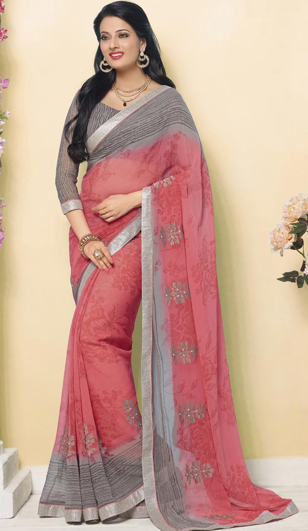 Alluring Grey Pink Color Chiffon Party Wear Saree Blouse | 335439686