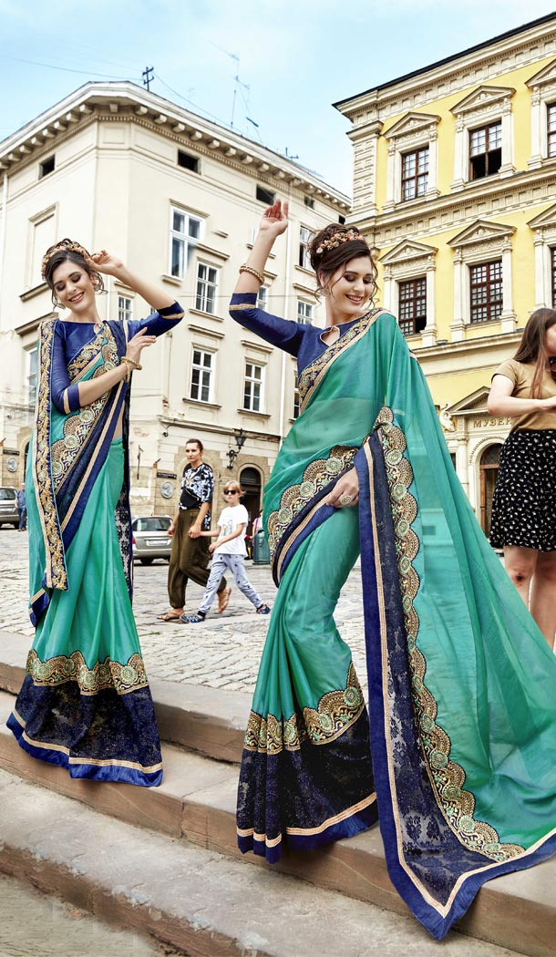 Traditional Green,Navy Blue Fancy Fabric Casual Wear Saree | 336439798