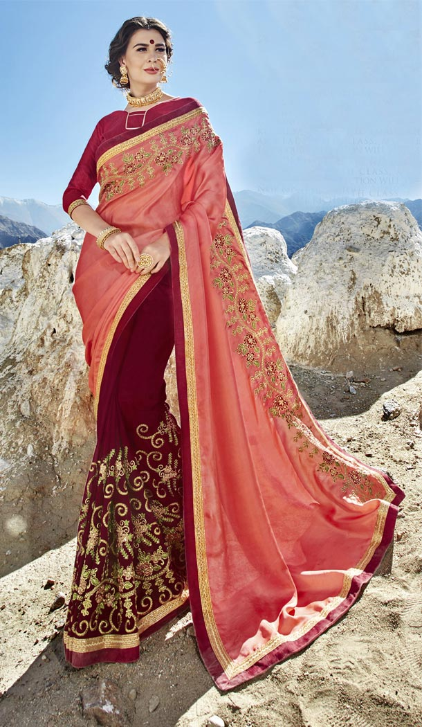 Pink Maroon Color Fancy Fabric Embroidery Casual Wear Saree | 336539808