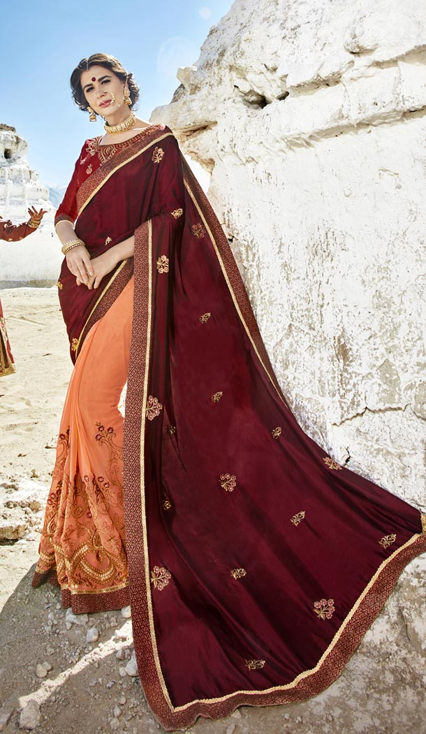 Maroon Orange Color Fancy Fabric Embroidery Casual Wear Saree | 336539810