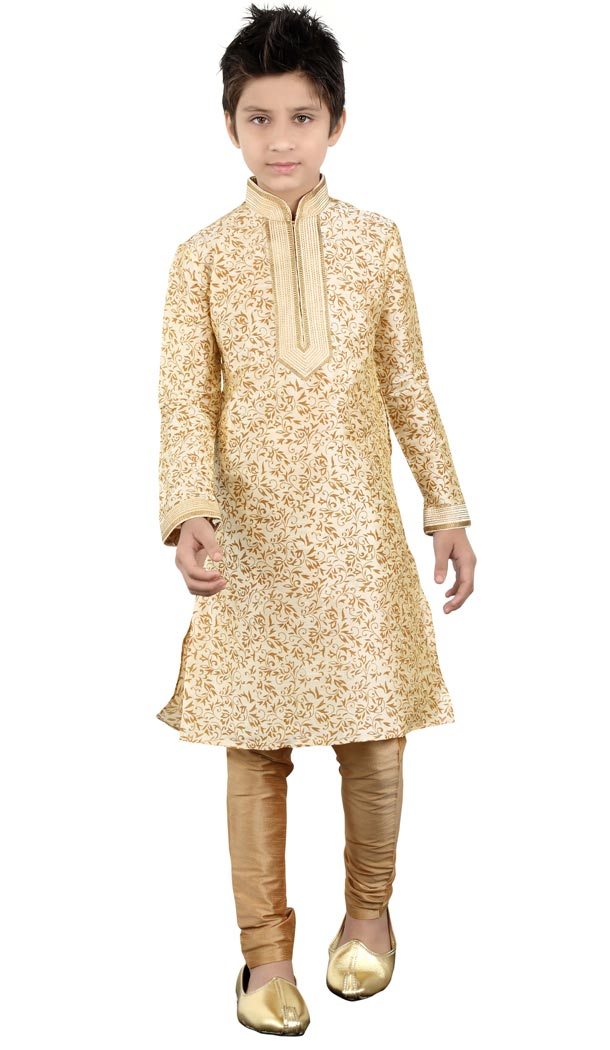 Alluring Off White Cotton Party Wear Boy Kurta Pajama | 330639069