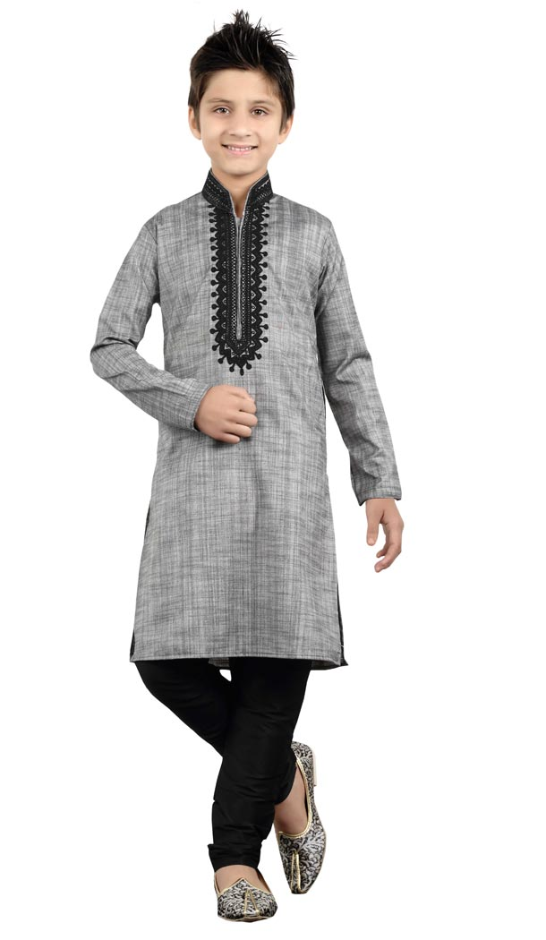 Adorabl Grey Color Cotton Party Wear Boy Kurta Pajama | 330639098