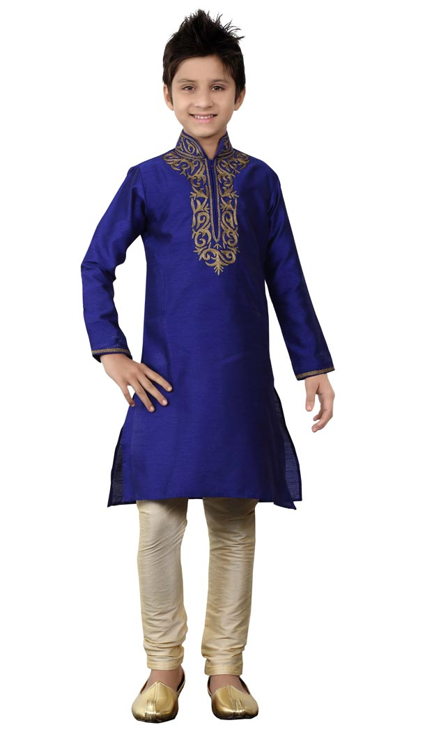 Adorabl Blue Color Cotton Party Wear Boy Kurta Pajama | 330639099