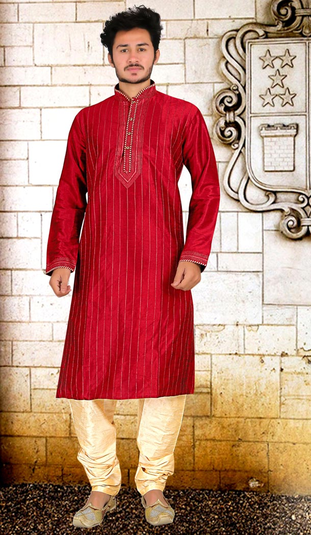 Red Color Dupion Silk Indo Western Style Mens Kurta Pajama | 346840983