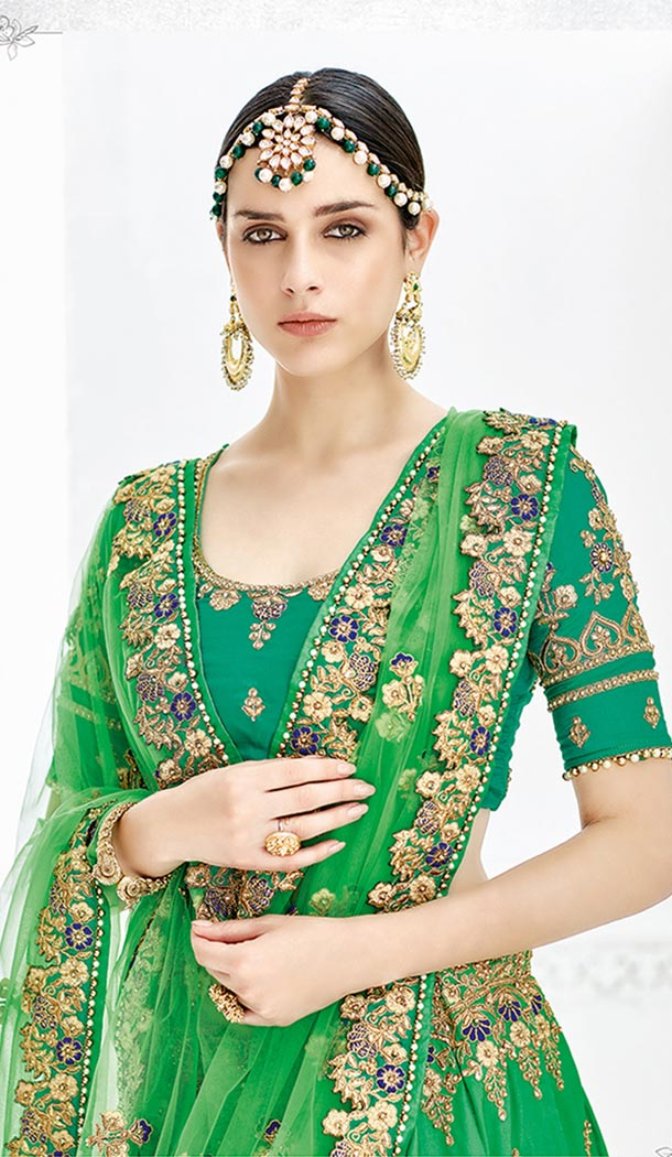 Green Color Silk Satin Heavy Designer Wedding Lehenga Choli | 346940992