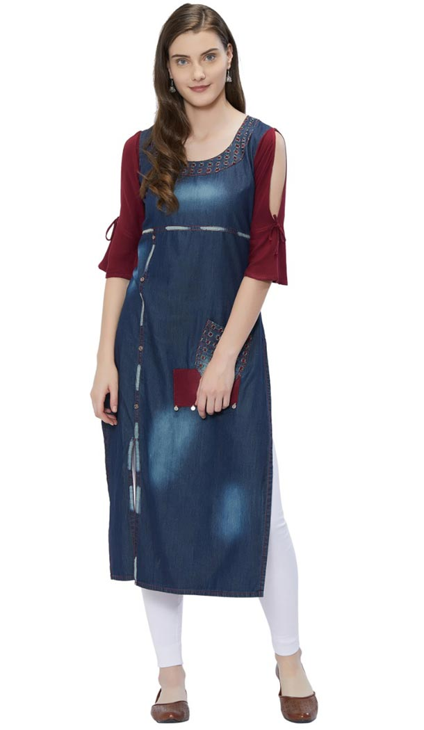 Attractive Blue Color Denim Long Readymade Kurtis | 347341030